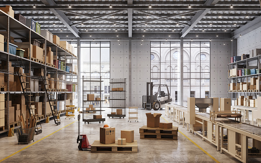 warehouse interior with boxes on shelves